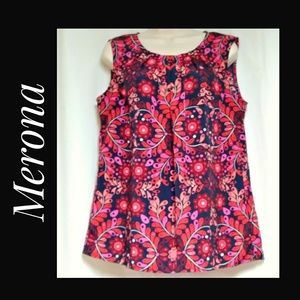 Sleeveless Top Fuchsia Orange Pink Navy Size Large